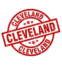 Cleveland red round grunge stamp vector