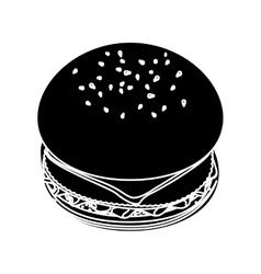 contour hamburger fast food icon vector image