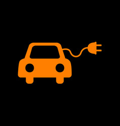 Eco electric car sign orange icon on black vector