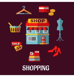 Flat shopping icons for household appliances vector image vector image