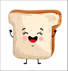 Funny toast bread isolated cartoon character vector image vector image