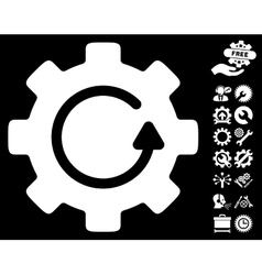 Gear Rotation Icon with Tools Bonus vector image vector image