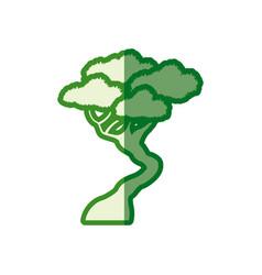 Green tree bonsai decorative silhouette vector