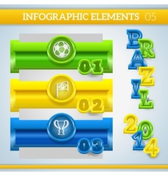 Info graphic football banners in brazil colors vector