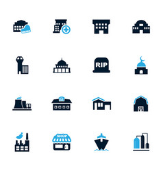 Infrastucture of the city icons set vector