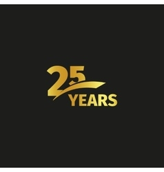 Isolated abstract golden 25th anniversary logo on vector image vector image