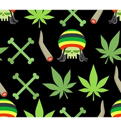 Jamaica drugs seamless pattern Rasta skull and vector image