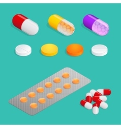 Medicaments of various types set of medical pill vector