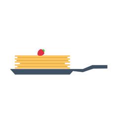 Pancakes on frying pan with strawberry vector