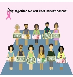 Pink ribbon breast cancer money for the diagnosis vector