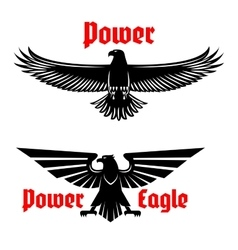 Power eagle icon or heraldic bird symbols set vector