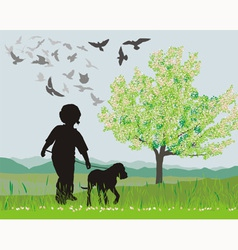 Puppy and boy in the spring vector image vector image
