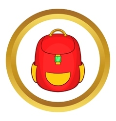 Red backpack icon vector