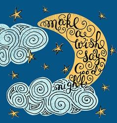 Romantic quote make a wish say good night vector