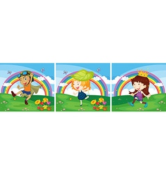 Scene with kids in the park vector image