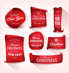 set of christmas parchment scroll vector image