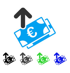 Spend euro banknotes flat icon vector