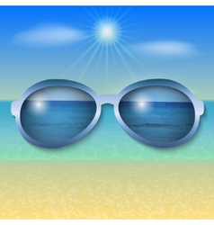 Sunny sea beach with sun glasses vector