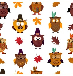 Thanksgiving day cute owl background vector