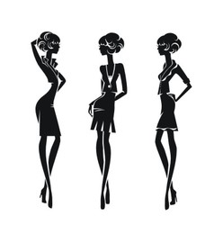 Three silhouette stylish girls isolated on a white vector image vector image