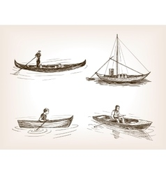 Water transport hand drawn sketch vector image vector image