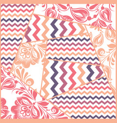 zigzag russian floral seamless pattern vector image