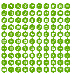 100 telephone icons hexagon green vector