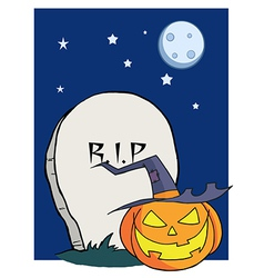 Cartoon r i p gravestone pumpkin vector