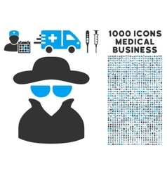 Spy icon with 1000 medical business pictograms vector