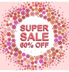 Big winter sale poster with super sale 60 percent vector