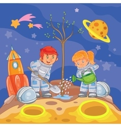Little boy and girl astronauts planting a tree vector