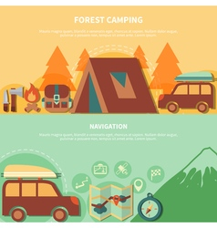 Hiking equipment and navigation accessories for vector