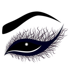 Abstract female eye with long curling eyelashes vector