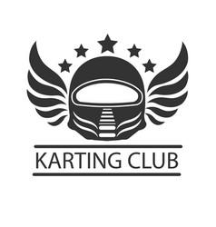 karting club or kart races racer helmet vector image