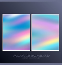 Ser of holographic background with vibrant colors vector