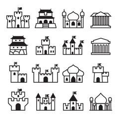 Castle palace icon set 2 vector
