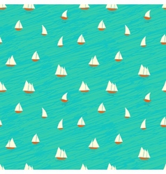 Nautical pattern with small boats on waves vector
