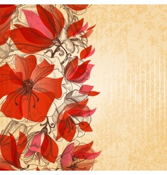 Vintage floral background cardboard texture vector