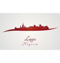 Lagos skyline in red vector