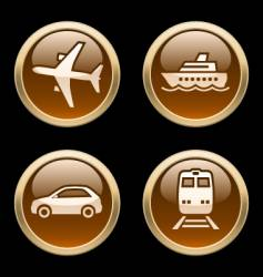 Transport icons buttons vector