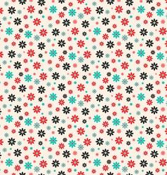 Seamless Retro Flat Design Flowers Pattern vector image