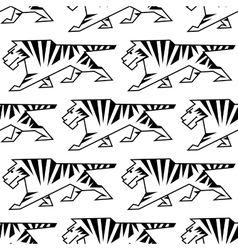 Wild tiger outline seamless pattern vector