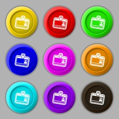 Id card icon sign symbol on nine round colourful vector
