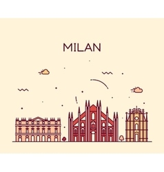 Milan skyline trendy linear vector