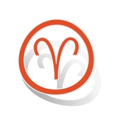 Aries sign sticker orange vector