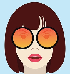 Cool hipster girl with glasses vector