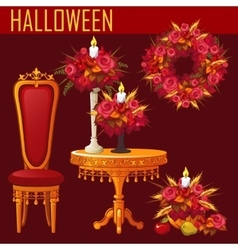 Holiday card for halloween on red background vector