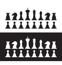 Isolated black and white chess silhouettes vector