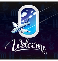Sign welcomeview from window airplane vector