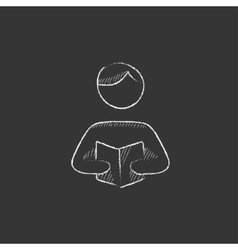Man reading book drawn in chalk icon vector